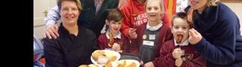 Pupils enjoy a hearty cooked breakfast at  Hatton Adventure World!
